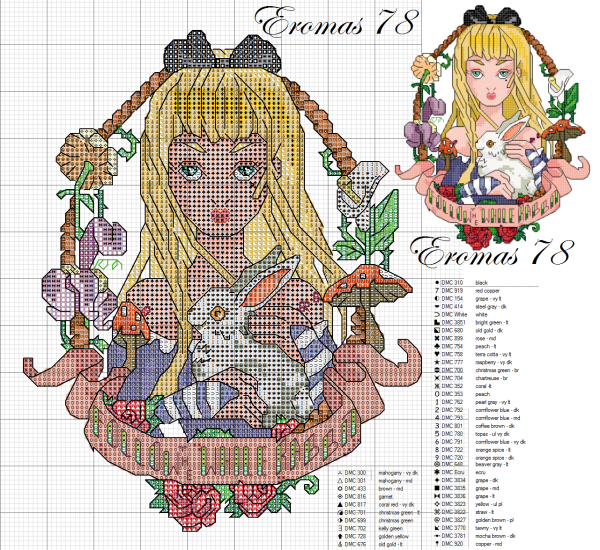 Cross-stitch alice pin up tattoo disney