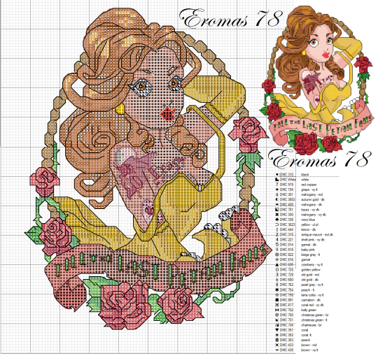 Cross-stitch disney bella pin up