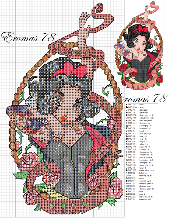 Cross-stitch disney biancaneve pin up
