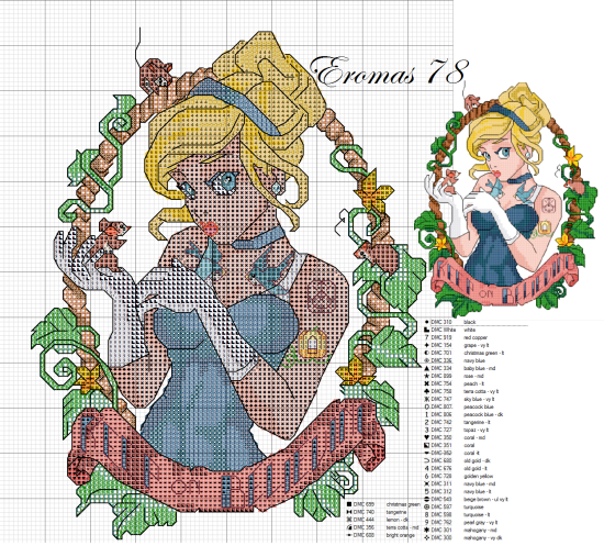 Cross-stitch disney tattoo cenerentola pin up
