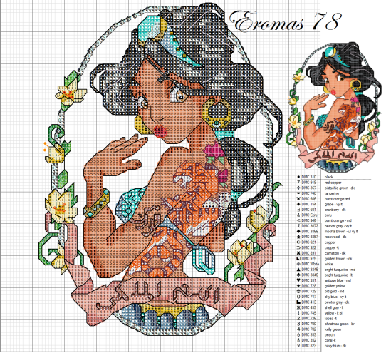 Cross stitch disney jasmine tatoo
