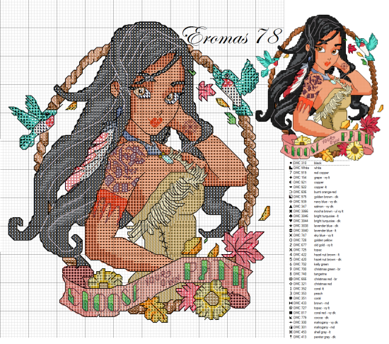 cross stitch disney pocahontas tatoo