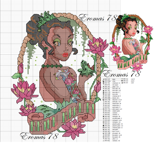 Cross stitch disney tiana pin up