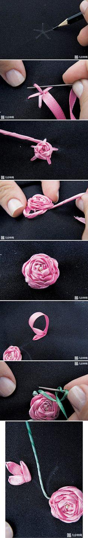 tuto rose brodée