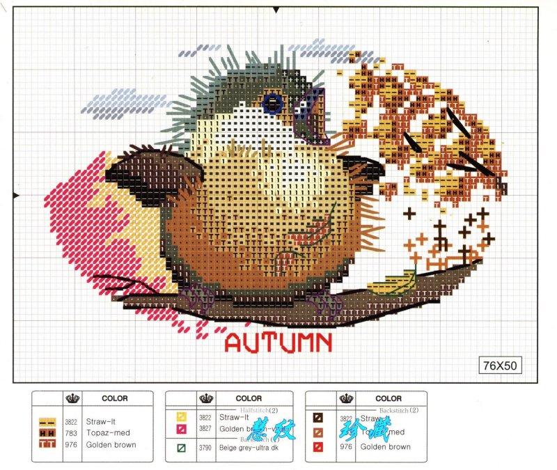grille point de croix saisons pattern cross stitch seasons