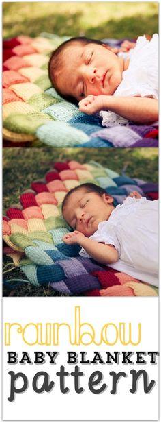 couverture tricot bebe arc en ciel