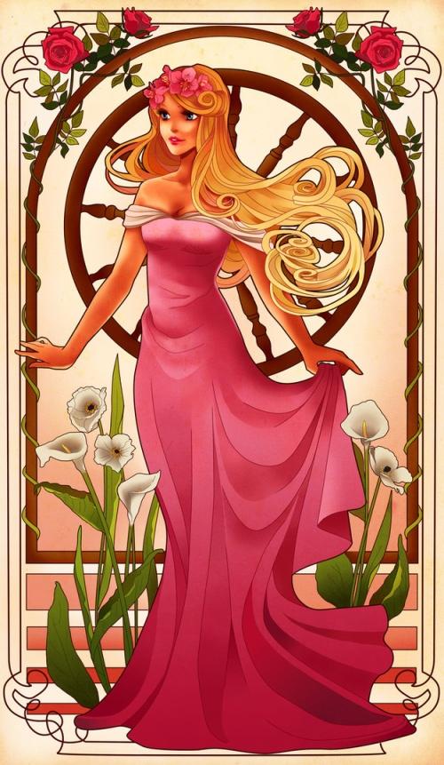 princesse disney style mucha aurore