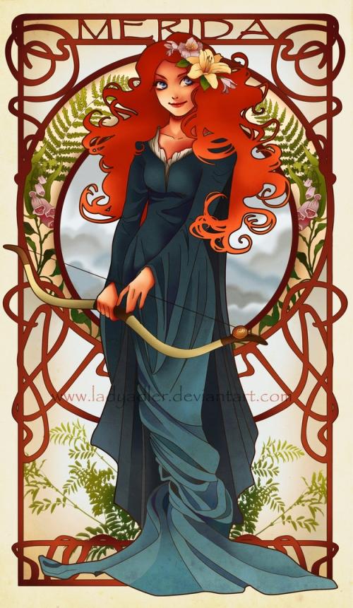 princesse disney style mucha merida