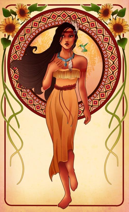 princesse disney style mucha pocahontas
