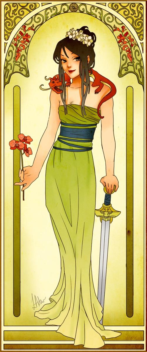 princesse disney style mucha mulan