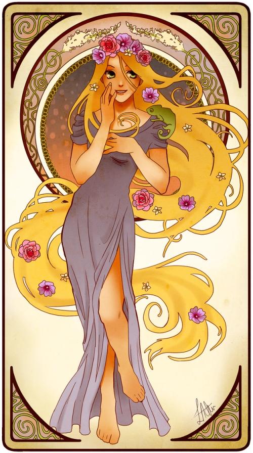 princesse disney style mucha raiponce