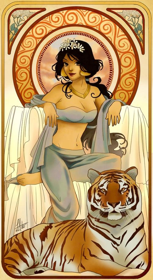 princesse disney style mucha jasmine