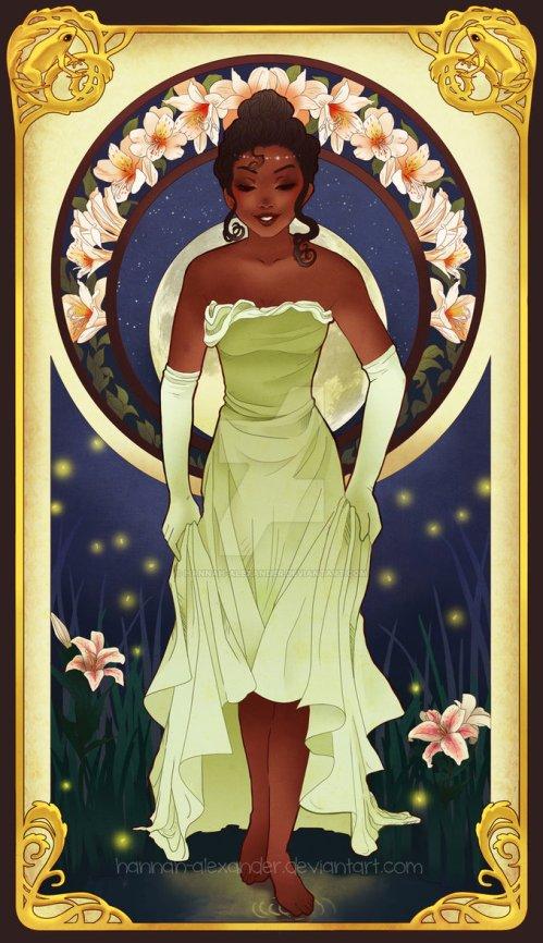 princesse disney style mucha tiana