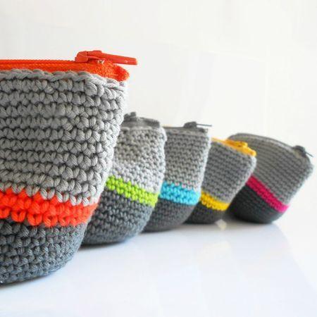 tricot crochet porte monnaie diy knit pureloisirs.com